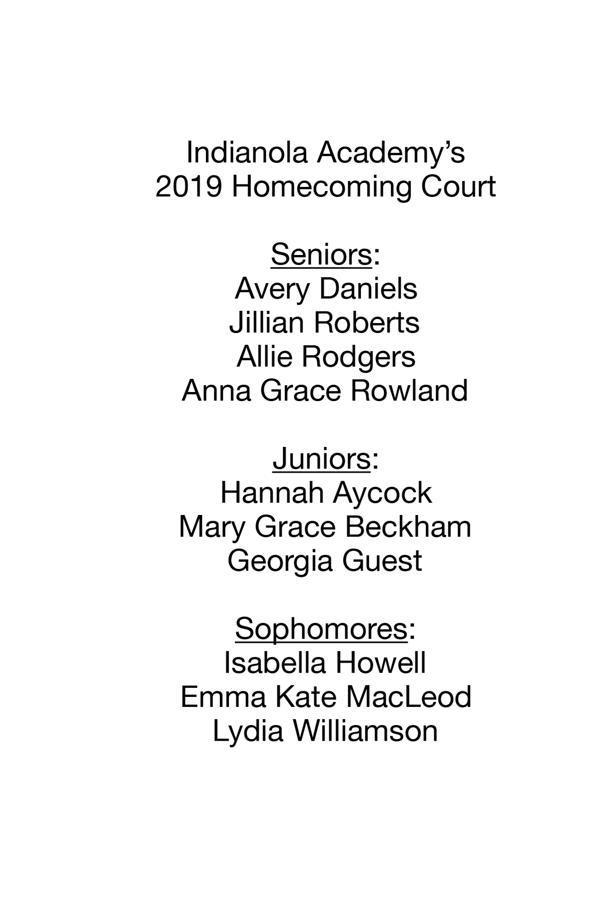 IA Homecoming Court 2019