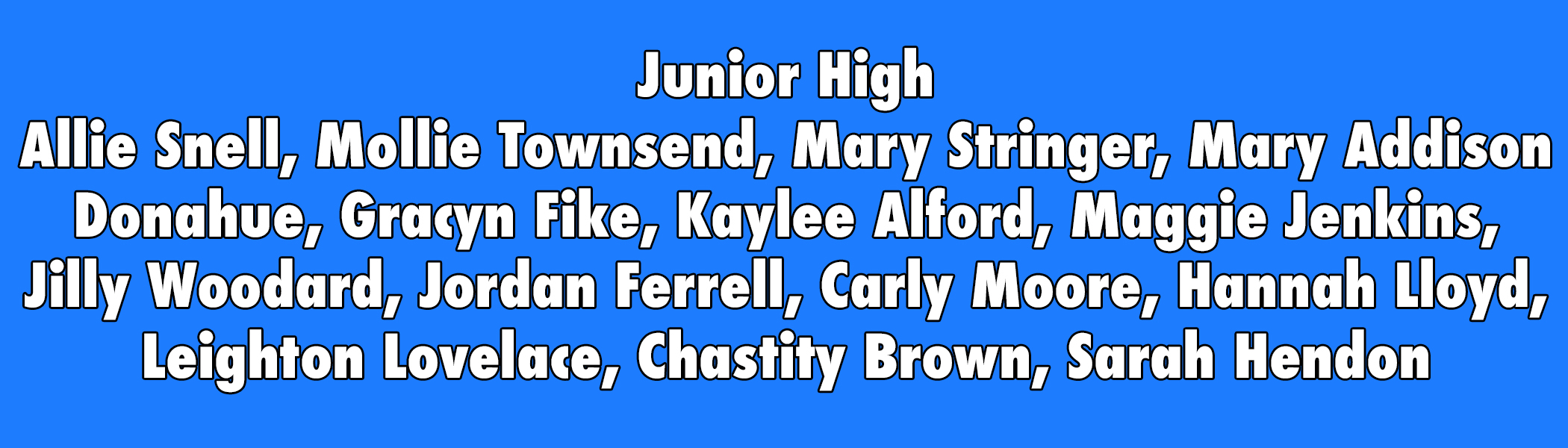 Junior High girls list